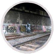 Graffiti - Under Over Railyard Round Beach Towel