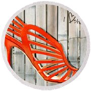 Graffiti Orange Cage Stilettos Round Beach Towel