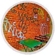 Grafitti Dining Round Beach Towel by Joan  Minchak