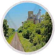 Grain Processing Facility In Shirley Illinois 4 Round Beach Towel