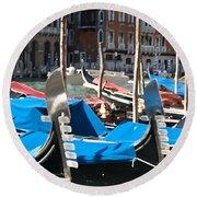 Grand Canal Gondolas Painting Round Beach Towel