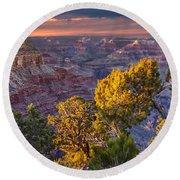 Grand Canyon At Sunset Round Beach Towel