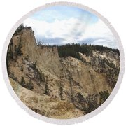 Grand Canyon Cliff In Yellowstone Round Beach Towel