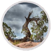 Grand Canyon Facing The Storm Round Beach Towel