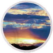 Grand Canyon Sky Over Treetops Round Beach Towel