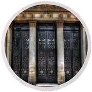 Grand Door - Leeds Town Hall Round Beach Towel