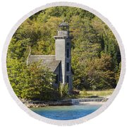 Grand Island E Channel Lighthouse 1 Round Beach Towel