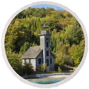 Grand Island E Channel Lighthouse 2 Round Beach Towel