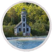 Grand Island E Channel Lighthouse 3 Round Beach Towel