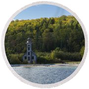 Grand Island E Channel Lighthouse 4 Round Beach Towel
