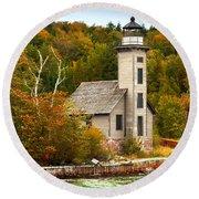 Grand Island Lighthouse No.1442 Round Beach Towel
