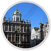 Grand Place Buildings Round Beach Towel