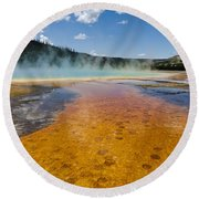 Grand Prismatic Spring IIi Round Beach Towel