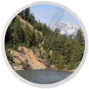 Grand Tetons From Snake River Round Beach Towel
