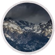 Grand Tetons Immersed In Clouds Round Beach Towel