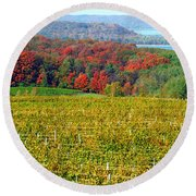 Grand Traverse Winery In Autumn Round Beach Towel