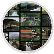 Grand Union Canal Collage Round Beach Towel