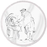 Grandmother With Baby Round Beach Towel
