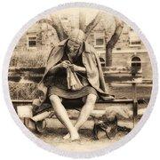 Granny Sitting On A Bench Knitting Ursinus College Round Beach Towel