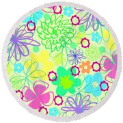 Graphic Flowers Round Beach Towel by Louisa Knight