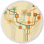 Graphic Tree Pattern Round Beach Towel