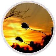 Grasping The Sunset Round Beach Towel