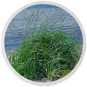 Grass On The Beach Round Beach Towel