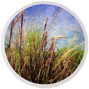 Grasses Standing Tall Round Beach Towel