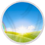 Grassland In The Sunny Day With Rainbow Round Beach Towel