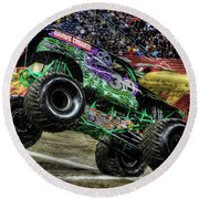Grave Digger At Ford Field Detroit Mi Round Beach Towel