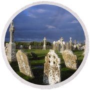 Graveyard, Clonmacnoise, County Offaly Round Beach Towel