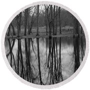 Gray Day Reflections Round Beach Towel