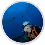 Gray Reef Shark With Diver, Papua New Round Beach Towel