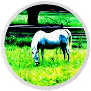 Grazing Horse Round Beach Towel by Bill Cannon