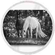 Grazing In Black And White Round Beach Towel
