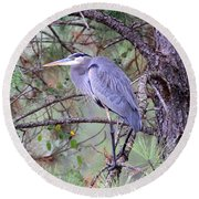 Great Blue Heron - Happy Place Round Beach Towel