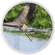 Great Blue Heron Escape Round Beach Towel