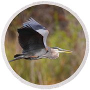 Great Blue Heron In Flight II Round Beach Towel