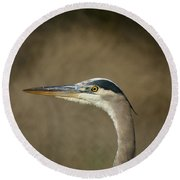 Great Blue Heron Profile Round Beach Towel