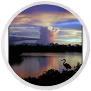 Great Blue Heron Sunset Round Beach Towel