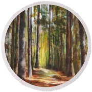 Great Brook Farm Summer Path Round Beach Towel
