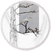 Great Egret - Gnarled Tree Round Beach Towel
