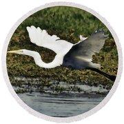 Great Egret In Flight  Round Beach Towel