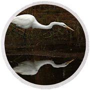 Great Egret Reflection 2 Round Beach Towel