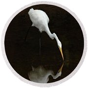Great Egret Reflection Round Beach Towel