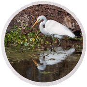 Great Egret Searching For Food In The Marsh Round Beach Towel