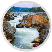 Great Falls On The Potomac River In Virginia Round Beach Towel
