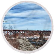 Great Falls Rr Bridge 10477c Round Beach Towel