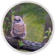Great Horned Owlette Round Beach Towel