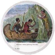 Great Lakes: Canoe, 19th C Round Beach Towel